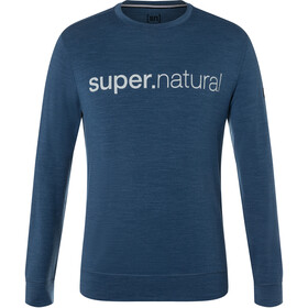 super.natural Signature Crew Top Men, dark denim melange/jet black